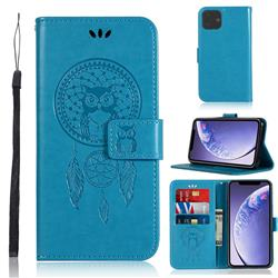 Intricate Embossing Owl Campanula Leather Wallet Case for iPhone 11 (6.1 inch) - Blue