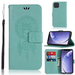 Intricate Embossing Owl Campanula Leather Wallet Case for iPhone 11 (6.1 inch) - Green