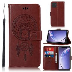 Intricate Embossing Owl Campanula Leather Wallet Case for iPhone 11 (6.1 inch) - Brown