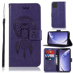 Intricate Embossing Owl Campanula Leather Wallet Case for iPhone 11 (6.1 inch) - Purple