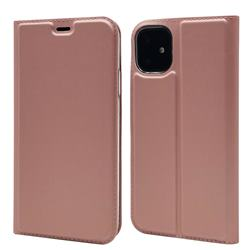 Ultra Slim Card Magnetic Automatic Suction Leather Wallet Case for iPhone 11 (6.1 inch) - Rose Gold