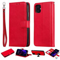 Retro Greek Detachable Magnetic PU Leather Wallet Phone Case for iPhone 11 (6.1 inch) - Red