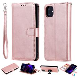 Retro Greek Detachable Magnetic PU Leather Wallet Phone Case for iPhone 11 (6.1 inch) - Rose Gold