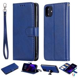 Retro Greek Detachable Magnetic PU Leather Wallet Phone Case for iPhone 11 (6.1 inch) - Blue