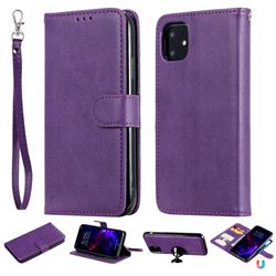 Retro Greek Detachable Magnetic PU Leather Wallet Phone Case for iPhone 11 (6.1 inch) - Purple