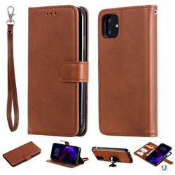 Retro Greek Detachable Magnetic PU Leather Wallet Phone Case for iPhone 11 (6.1 inch) - Brown