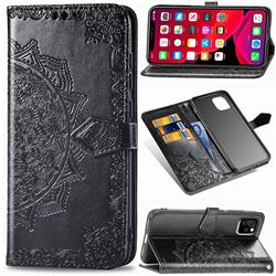 Embossing Imprint Mandala Flower Leather Wallet Case for iPhone 11 (6.1 inch) - Black