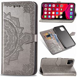 Embossing Imprint Mandala Flower Leather Wallet Case for iPhone 11 (6.1 inch) - Gray