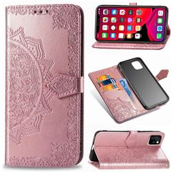 Embossing Imprint Mandala Flower Leather Wallet Case for iPhone 11 (6.1 inch) - Rose Gold
