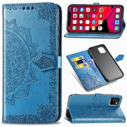 Embossing Imprint Mandala Flower Leather Wallet Case for iPhone 11 (6.1 inch) - Blue