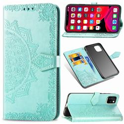 Embossing Imprint Mandala Flower Leather Wallet Case for iPhone 11 (6.1 inch) - Green