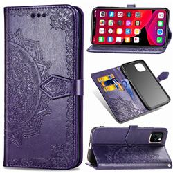 Embossing Imprint Mandala Flower Leather Wallet Case for iPhone 11 (6.1 inch) - Purple