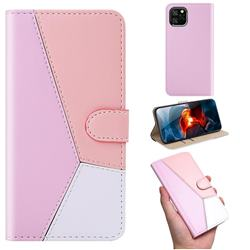 Tricolour Stitching Wallet Flip Cover for iPhone 11 (6.1 inch) - Pink