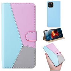 Tricolour Stitching Wallet Flip Cover for iPhone 11 (6.1 inch) - Blue