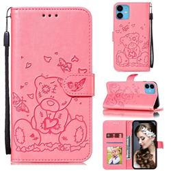 Embossing Butterfly Heart Bear Leather Wallet Case for iPhone 11 (6.1 inch) - Pink