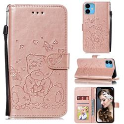 Embossing Butterfly Heart Bear Leather Wallet Case for iPhone 11 (6.1 inch) - Rose Gold