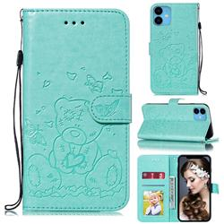 Embossing Butterfly Heart Bear Leather Wallet Case for iPhone 11 (6.1 inch) - Green