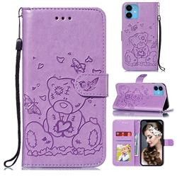 Embossing Butterfly Heart Bear Leather Wallet Case for iPhone 11 (6.1 inch) - Purple