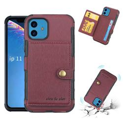 Brush Multi-function Leather Phone Case for iPhone 11 (6.1 inch) - Wine Red