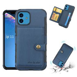 Brush Multi-function Leather Phone Case for iPhone 11 (6.1 inch) - Blue