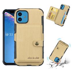 Brush Multi-function Leather Phone Case for iPhone 11 (6.1 inch) - Golden
