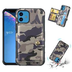 Camouflage Multi-function Leather Phone Case for iPhone 11 (6.1 inch) - Gray