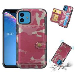 Camouflage Multi-function Leather Phone Case for iPhone 11 (6.1 inch) - Rose