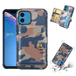 Camouflage Multi-function Leather Phone Case for iPhone 11 (6.1 inch) - Blue