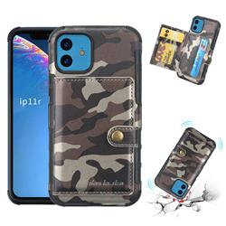 Camouflage Multi-function Leather Phone Case for iPhone 11 (6.1 inch) - Coffee