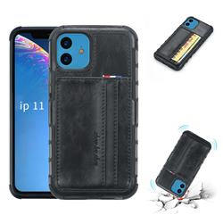 Luxury Shatter-resistant Leather Coated Card Phone Case for iPhone 11 (6.1 inch) - Black