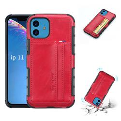 Luxury Shatter-resistant Leather Coated Card Phone Case for iPhone 11 (6.1 inch) - Red