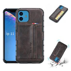 Luxury Shatter-resistant Leather Coated Card Phone Case for iPhone 11 (6.1 inch) - Coffee