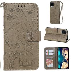Embossing Fireworks Elephant Leather Wallet Case for iPhone 11 (6.1 inch) - Gray
