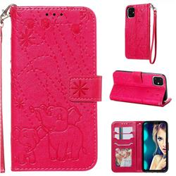 Embossing Fireworks Elephant Leather Wallet Case for iPhone 11 (6.1 inch) - Red