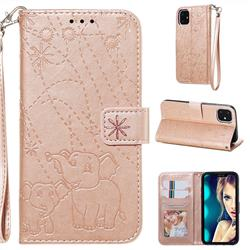 Embossing Fireworks Elephant Leather Wallet Case for iPhone 11 (6.1 inch) - Rose Gold