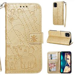 Embossing Fireworks Elephant Leather Wallet Case for iPhone 11 (6.1 inch) - Golden