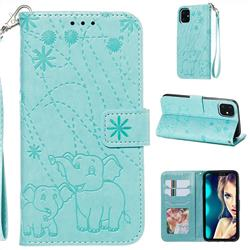 Embossing Fireworks Elephant Leather Wallet Case for iPhone 11 (6.1 inch) - Green