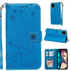 Embossing Fireworks Elephant Leather Wallet Case for iPhone 11 (6.1 inch) - Blue