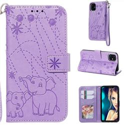 Embossing Fireworks Elephant Leather Wallet Case for iPhone 11 (6.1 inch) - Purple
