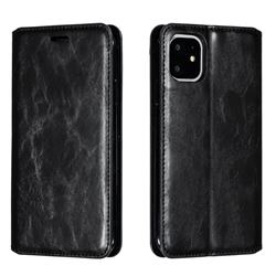 Retro Slim Magnetic Crazy Horse PU Leather Wallet Case for iPhone 11 (6.1 inch) - Black