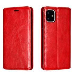 Retro Slim Magnetic Crazy Horse PU Leather Wallet Case for iPhone 11 (6.1 inch) - Red