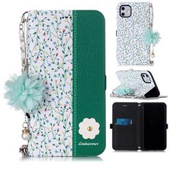 Magnolia Endeavour Florid Pearl Flower Pendant Metal Strap PU Leather Wallet Case for iPhone 11 (6.1 inch)