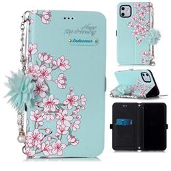 Cherry Blossoms Endeavour Florid Pearl Flower Pendant Metal Strap PU Leather Wallet Case for iPhone 11 (6.1 inch)