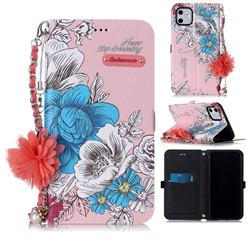 Pink Blue Rose Endeavour Florid Pearl Flower Pendant Metal Strap PU Leather Wallet Case for iPhone 11 (6.1 inch)