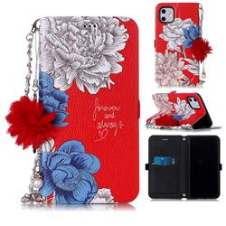 Red Chrysanthemum Endeavour Florid Pearl Flower Pendant Metal Strap PU Leather Wallet Case for iPhone 11 (6.1 inch)
