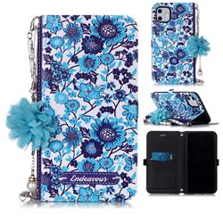 Blue-and-White Endeavour Florid Pearl Flower Pendant Metal Strap PU Leather Wallet Case for iPhone 11 (6.1 inch)