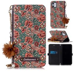 Impatiens Endeavour Florid Pearl Flower Pendant Metal Strap PU Leather Wallet Case for iPhone 11 (6.1 inch)