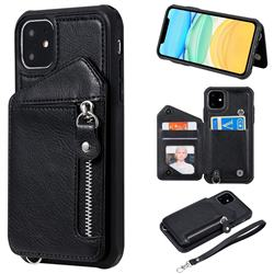 Classic Luxury Buckle Zipper Anti-fall Leather Phone Back Cover for iPhone 11 (6.1 inch) - Black