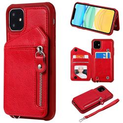 Classic Luxury Buckle Zipper Anti-fall Leather Phone Back Cover for iPhone 11 (6.1 inch) - Red