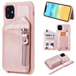 Classic Luxury Buckle Zipper Anti-fall Leather Phone Back Cover for iPhone 11 (6.1 inch) - Pink